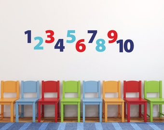 Number wall decals for kids, Playroom wall decals for kids, Vinyl decal, Children's wall decal, Wall stickers for kids, 123 numbers DB409