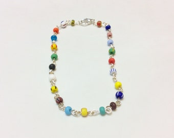 Multicolor Glass Bead Wire Wrapped Chain Link Anklet Ankle Bracelet