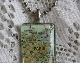 "Map of Paris France Glass Pendant Necklace on 18"" Chain"