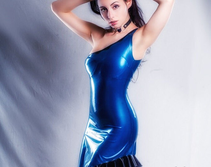 Featured listing image: Asymmetrical Latex Dress.  Made to order in a range of colors and sizes.