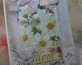 Mothers Day Card Vintage Style Handmade Mothers Day Mixed Media Mothers Day Card