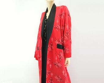 Vintage Kimono Robe Vintage Red Kimono 80s Black Kimono Reversible Kimono Vintage Red Robe Brocade Asian Robe Dragon Kimono Cherry Blossom L