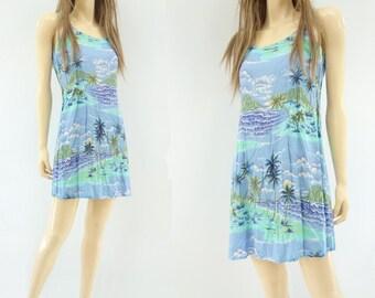 90s Mini Dress Hawaiian Print Mini Hawaiian Mini Dress Auqa Blue Dress Lilac Mini Dress 90s Tank Dress Vintage Sun Dress 90s Beach Dress s
