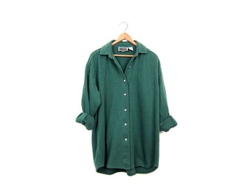Cotton Rib Shirt 80s 90s FORENZA Long Sleeve RIBBED Long Underwear Shirt Slouchy Grunge Top Pearl Snaps Womens Small Medium Large