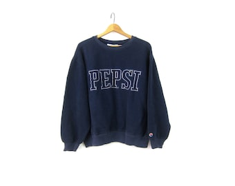 oversized 90s Vintage PEPSI sweatshirt dark navy blue sports sweatshirt inside out cotton sweater baggy Sporty pullover Size Large