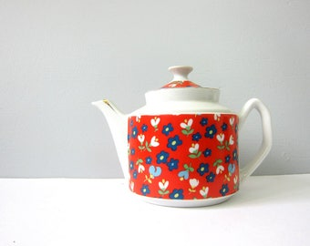 Floral Teapot with Handle Vintage 1970s Bright Orange Red Retro Flower Pattern Kitchen Home Decor Modern Ranch Home Serving Coffee Tea GS