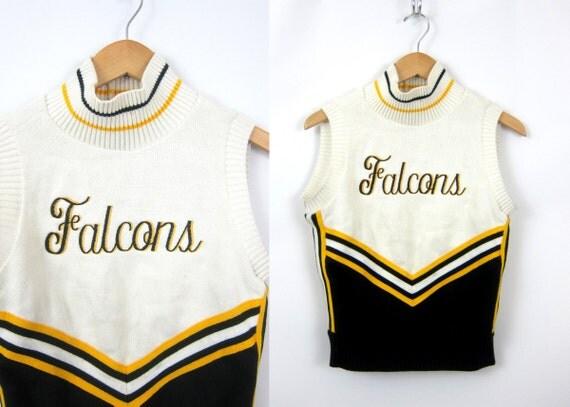 vintage Varsity cheerleading sweater Black & Yellow Vest High School Lettermen Falcons emblem Highschool uniform Letterman 36