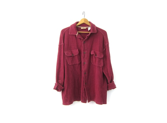 Maroon 90s Fleece Shirt Oversized Long Shirt Flannel Cotton Blanket top Button Up Slouchy Rugged oxford Shirt Mens Size XL
