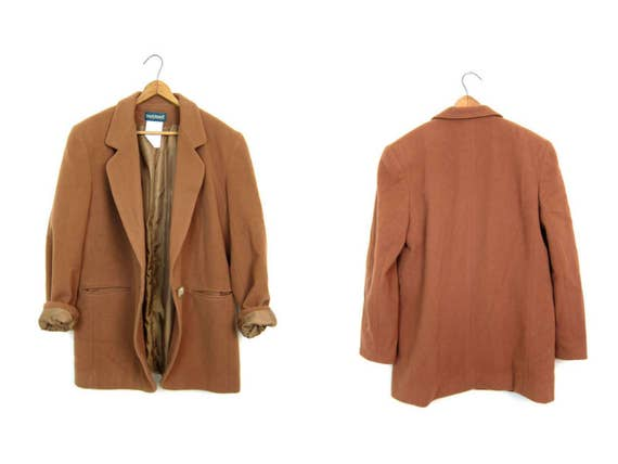 Vintage Wool Cashmere Blazer in Adobe Brown Minimal 90s Oversized Soft Wool Jacket Camel Brown Spring Coat Slouchy Boho Modern Womens Medium