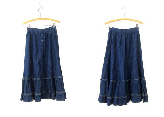 Long Button front Jean Skirt Blue PEASANT Boho Skirt Midi Bohemian Jessica's GUNNIES Cowgirl Ruffle Skirt Women's Size XS or Small