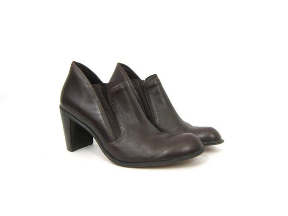 vintage 90s leather Ankle boots Dark brown high heel boots fashion Panel boots Franco Sarto Dress Shoes Womens Shoes Size 8