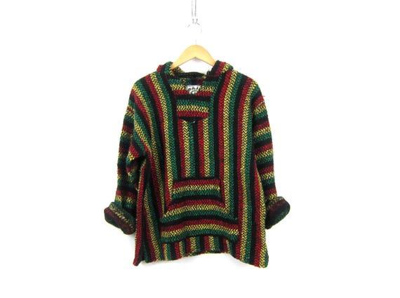 Drug Rug Hoodie 90s Pullover Mexican Jacket Rasta Stripe Hooded Sweatshirt Hippie Boho Rastafarian Vintage Blanket shirt Medium