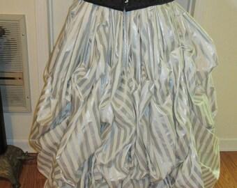 Steampunk victorian skirt silver metallic stripe winter white S, M, L,  xl  plus sizes 2xl 3xl, 4xl 300 inches at bottom adjustable waist