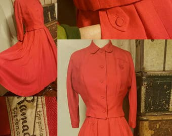Designer Rimada 1950s suit with circle skirt and pockets pinup 50s bombshell rockabilly