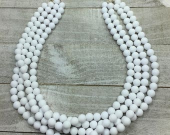 Optic White Collection - Bright White Beaded Necklace - Multi Strand White Necklace - Statement Bib Necklace - Chunky Necklace