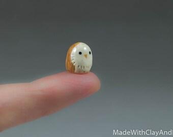 Micro Barn Owl - Terrarium Figurine - Miniature Tiny Ceramic Porcelain Bird Animal Sculpture - Hand Sculpted