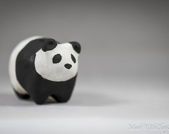 Pottery Panda - Miniature Ceramic Porcelain Clay Bear Animal Black White Sculpture Decorative Home Decor Ornament - Terrarium Figurine