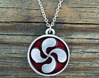 Basque Lauburu Pewter Necklace | Basque Jewelry | Lauburu Jewelry | Gift for Her | Handcrafted Jewelry | by Treasure Cast Pewter