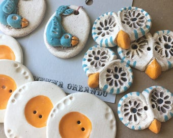 SALE - Lot of Buttons - Handmade Ceramic Buttons - Blue Birds and Eggs