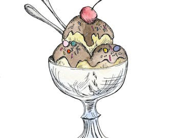 Ice Cream Sundae, Watercolor Dessert Illustration, handmade, Art Print, Wall Art