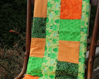 Green Orange Yellow Patchwork Quilt Frogs Polka Dots Toddler Play Mat Vibrant Quilt Toddler Quilt Boy Quilt Reptile Blanket