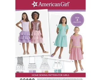 GIRLS CLOTHES PATTERN / Make Fancy Party - Church - Dress / Sizes 3 to 8 / Matching Pattern for American Girl Doll