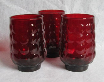 """3 Vintage Anchor Hocking Royal Ruby Red Glass Tumblers Iced Tea 4.5"""""""