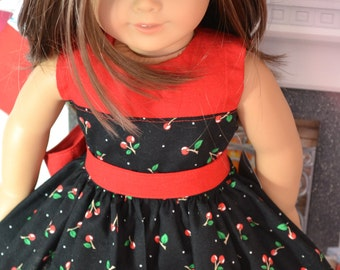 18 inch Doll Clothes - Pretty Dress - Black Cherries - BLACK RED GREEN - fits American Girl