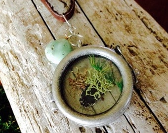 Moss Glass Locket on Leather Cord with Green Stone