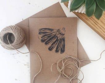 Daisy Card - thank you card - spring - gardening - thinking of you - kraft - lino printed