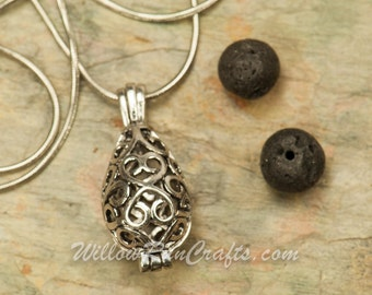 Essential Oil Diffuser Necklace TearDrop Vintage Locket Aromatherapy with Chain  (19-34-035)--