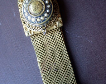 Victorian Style Gold Fringed Bracelet with Watch - Working.