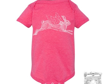 Baby One-Piece RABBIT Eco screen printed (+ Color Options) - FREE Shipping