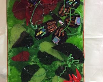 Dichroic Butterfly Garden Art Plaque