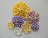 Yo-Yos and Crocheted Flowers -  Yellow, Purple and White - Cotton Fabric - Cotton Appliques - Cotton Embellishments