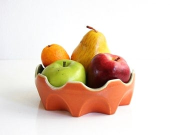 Mid Century Modern Red Wing Prismatique Bowl / Retro Orange and Cream Prismatique Planter / Belle Kogan Prismatique Bowl