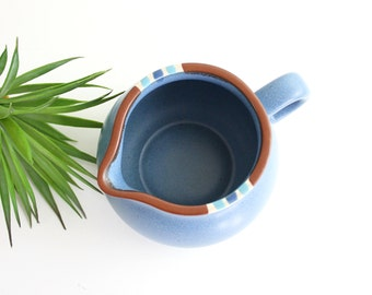 Vintage Dansk Mesa Cream Pitcher / Boho Dansk Stoneware Pitcher in Misty Blue / Southwestern Mesa Pitcher / Boho Pottery Pitcher