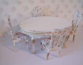 Dollhouse table, Oval Table ,Rectangle table,   four  chairs, tatty chic table, white table, roses, twelfth scale miniature