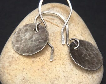 Rustic Hammered Silver Disc Earrings