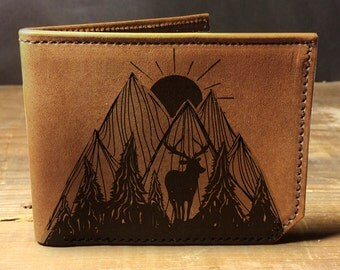 wallet, leather wallet, mens leather wallet, nature wallet - 037