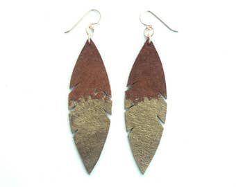 Metallic Dipped Leather Feather Earrings -  Brown Suede and Gold with 14k Gold-Fill