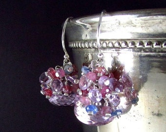 25OFF Pink Amethyst and Sapphire Sterling Silver Earrings.