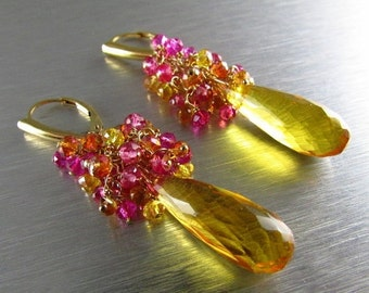 20 Off Yellow Quartz With Citrine and Crystal Cluster Earrings - Rays Of Sun