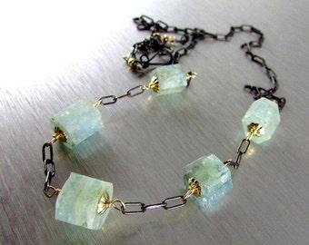 25% Off Mixed Metal Aquamarine Nugget Necklace, Rustic Necklace,