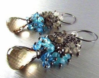 25% Off Smoky Quartz With Blue Quartz Cluster Oxidized Sterling Silver Earrings