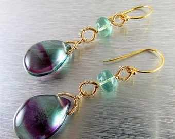 25 % OFF Fluorite and Gold Filled Wire Wrapped Earrings