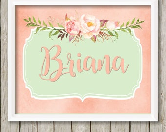 Baby girl nursery wall art peach mint nursery decor custom name print personalized baby gift for baby nursery art personalized gift