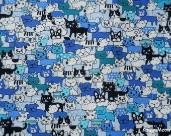 Kawaii Japanese Fabric - Cats & Dogs on Blue - Fat Quarter (no20161110)
