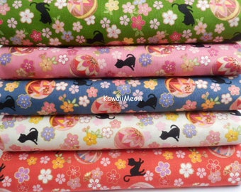 Kimono Fabric - Temari Cats Sakura 5 Fat Quarter Bundle Set (nu170419)