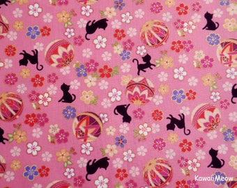 Cute Kimono Fabric - Temari Cats Sakura on Pink - Half Yard (nu170419)